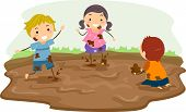 stock photo of mud  - Stickman Illustration Featuring Kids Playing in the Mud - JPG