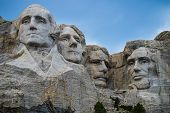 Mount Rushmore close up President Washington, Teddy Roosevelt, Thomas Jefferson, Abraham Lincoln