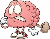 stock photo of farting  - Cartoon brain having a brain fart - JPG