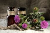 pic of scottish thistle  - Medicine bottles with thistle flowers - JPG