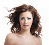 picture of blown-up  - Front view of beauty and sexy woman with blown hairs - JPG