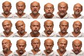 pic of coy  - An older man in his sixties poses for 16 facial expressions - JPG