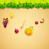 picture of sukkot  - illustration of fruits hanging for Jewish festival - JPG