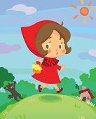 pic of little red riding hood  - Little red riding hood on run in a little dreamy world create by vector - JPG