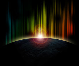 foto of planet earth  - Planet earth with sunrise on colorful background - JPG
