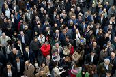 VALENCIA, SPAIN - FEBRUARY 12, 2014: A crowd of business people waiting to enter the 2014 Feria Habi