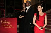 LOS ANGELES - FEB 13: Angelina Jolie, Morgan Freeman, Sandra Bullock, wax figures at the unveiling o