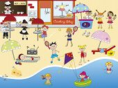 foto of ice-cream truck  - a illustration of people on the beach - JPG