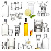 image of vodka  - Collage of alcohol drinks - JPG