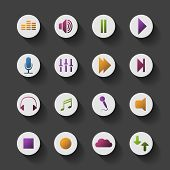 Icon Set with Shadow and Colorful Design - Music Content