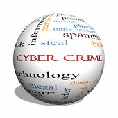 stock photo of malware  - Cyber Crime 3D sphere Word Cloud Concept with great terms such as hacker malware data and more - JPG