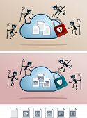 pic of fail-safe  - illustration of file in the cloud storage attacked by computer virus - JPG