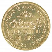 image of sinhala  - 1 Sri Lankan rupee coin isolated on white background - JPG