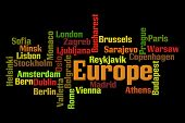 European Capitals word cloud on black background