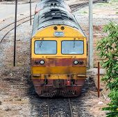 picture of locomotive  - Old diesel locomotive in the maintenance area of railway station - JPG