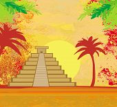 stock photo of mayan  - Mayan Pyramid Chichen - JPG