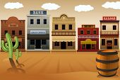 stock photo of cactus  - A vector illustration of old western town - JPG