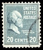 USA-CIRCA 1938: A postage stamp shows image portrait of James Abram Garfield the 20th President of t