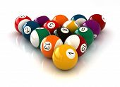image of snooker  - 3d render of billiard balls over white background - JPG