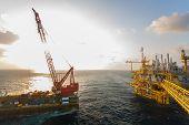 image of big-rig  - Gas platform or rig platform in sunset or sunrise time - JPG