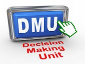 pic of gatekeeper  - 3d render of hand cursor pointer click on button with phrase dmu decision making unit - JPG
