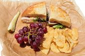 picture of deli  - A picnic lunch with a Turkey and Cheese Sandwich on Cheese Bread - JPG