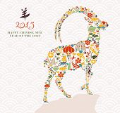 picture of horoscope signs  - 2015 Chinese New Year of the Goat eastern elements composition - JPG