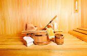 foto of sauna  - various sauna accessories in a wooden sauna - JPG