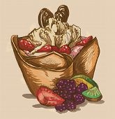 picture of whip-hand  - Hand Drawn Illustration in vintage style of a Candy and Sweets topic - JPG