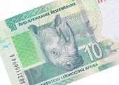 stock photo of nelson mandela  - Ten South African Rand part of a complete banknote - JPG