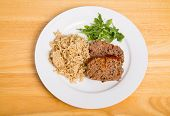 pic of meatloaf  - Meatloaf on plate with brown rice and arugula - JPG