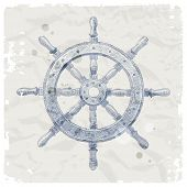 picture of ship steering wheel  - Hand drawn illustration  - JPG