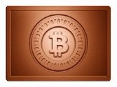 stock photo of bronze silver gold platinum  - Bronz plate with bitcoin stamp on it and clippingpath for white background removal - JPG