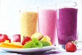 image of fruit shake  - Delicious smoothie on table - JPG