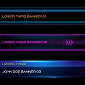 stock photo of bottom  - Set of vector lower third modern contemporary tv bottom banners - JPG