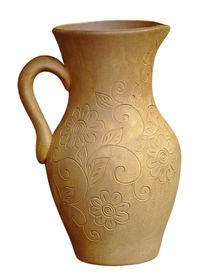 stock photo of loamy  - Old ceramic jug taken closeup isolated on white background - JPG