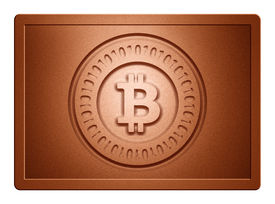 pic of bronze silver gold platinum  - Bronz plate with bitcoin stamp on it and clippingpath for white background removal - JPG
