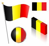 picture of flag pole  - Belgian flag on a pole badge and isometric designs vector illustration - JPG