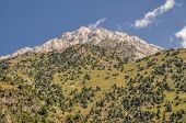stock photo of shan  - Scenic peak in mountain range Tien-Shan in Kyrgyzstan