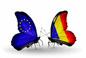 foto of chad  - Two butterflies with flags on wings as symbol of relations EU and Chad Romania - JPG