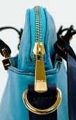 image of zipper  - Zipper bag leather color blue and light blue.