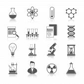 picture of structure  - Chemistry icons black set with molecule structure microscope radiation warning sign isolated vector illustration - JPG