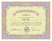 pic of macrame  - Vintage certificate template with detailed border and calligraphic elements on yellow paper with safety watermarks in vector - JPG