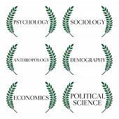 stock photo of macroeconomics  - Different Kinds of Social Science Laurels 1 - JPG