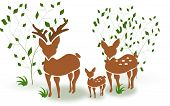 pic of deer family  - Illustration of deer family standing between trees - JPG