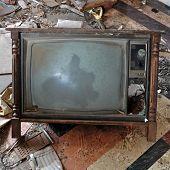 picture of tv sets  - Vintage tv set with wooden frame - JPG