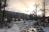 image of blanket snow  - A snow blanket over Vallecito Creek in Vallecito - JPG