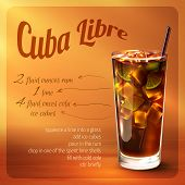 stock photo of cocktail  - Cuba libre cocktail recipe with drink in glass with drinking straw on brown background vector illustration - JPG