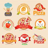 stock photo of hot fresh pizza  - Pizzeria hot pizza fresh ingredients spicy delicious food label set isolated vector illustration - JPG