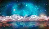 picture of stellar  - Stellar nebula cosmos space reflection on water - JPG